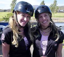 Haylie Duff with stunt double and pro skater Holly Lyons