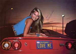Christie Brinkley in her Ferrari from Vacation