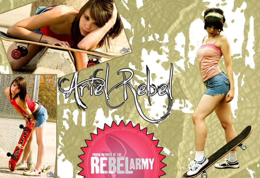 Ariel Rebel skateboard collage