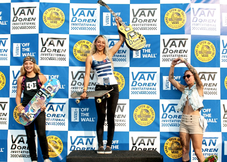 Lizzie Armanto took first in the Vans VanDoren Invitational Women's bowl contest