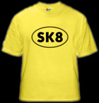 yellow skateboard t-shirt Sk8 logo shirt